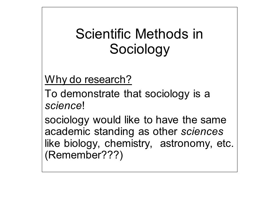 "research methods of sociology Sociological research: designs, methods sociologists use many different designs and methods to study society and social behavior most sociological research involves ethnography, or ""field work"" designed to depict the characteristics of a."
