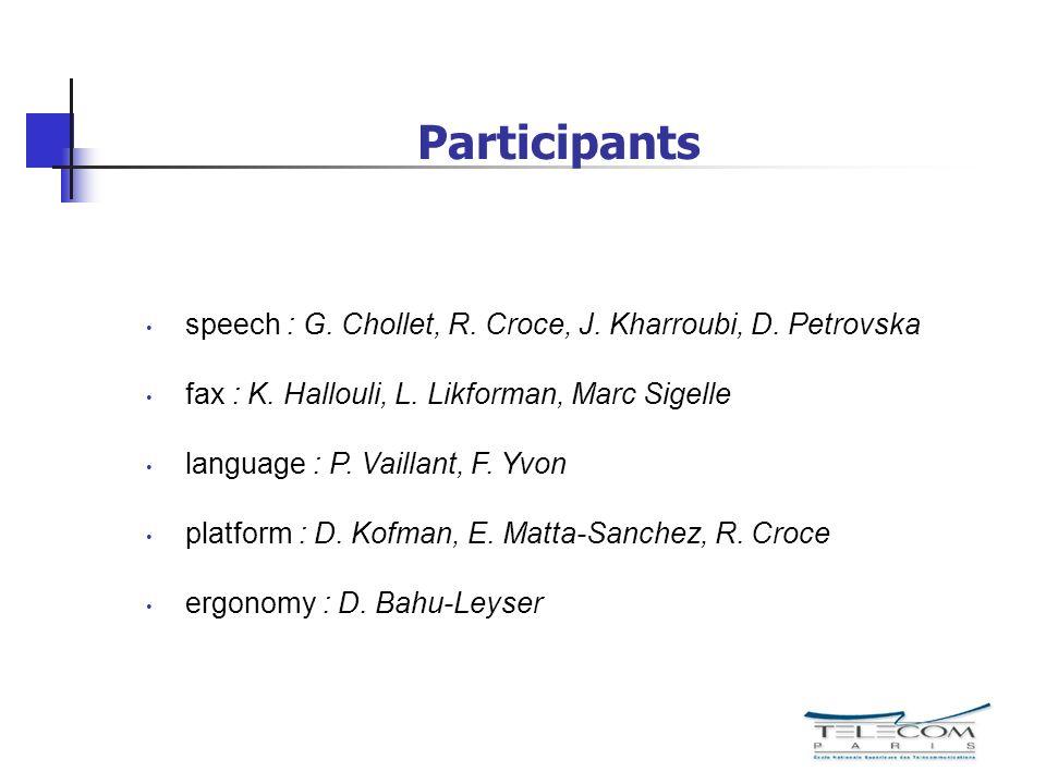 Participants speech : G. Chollet, R. Croce, J. Kharroubi, D. Petrovska