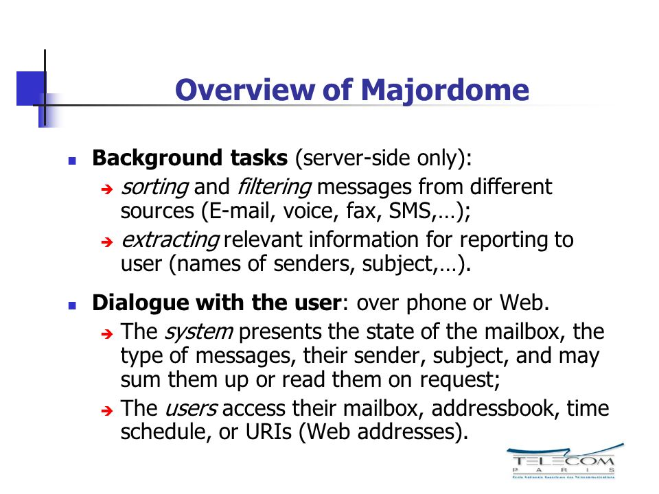 Overview of Majordome Background tasks (server-side only):