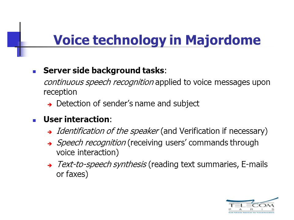 Voice technology in Majordome