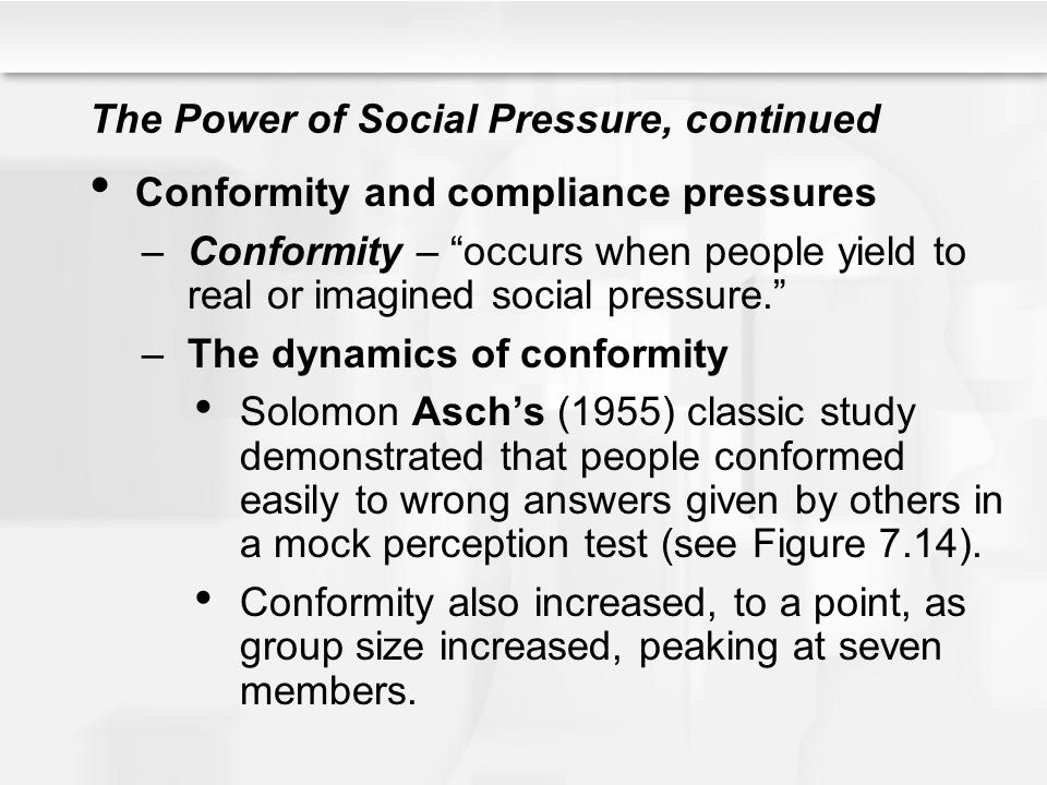 an analysis of opinions and social pressure by asch Sherif's subjects were not aware of this social influence  through interaction of  individuals, with a leveling-off of extreme opinions  perhaps the most influential  study of conformity came from solomon e asch (1951)  an analysis of us  studies found that conformity has declined since the 1950s, they reported.