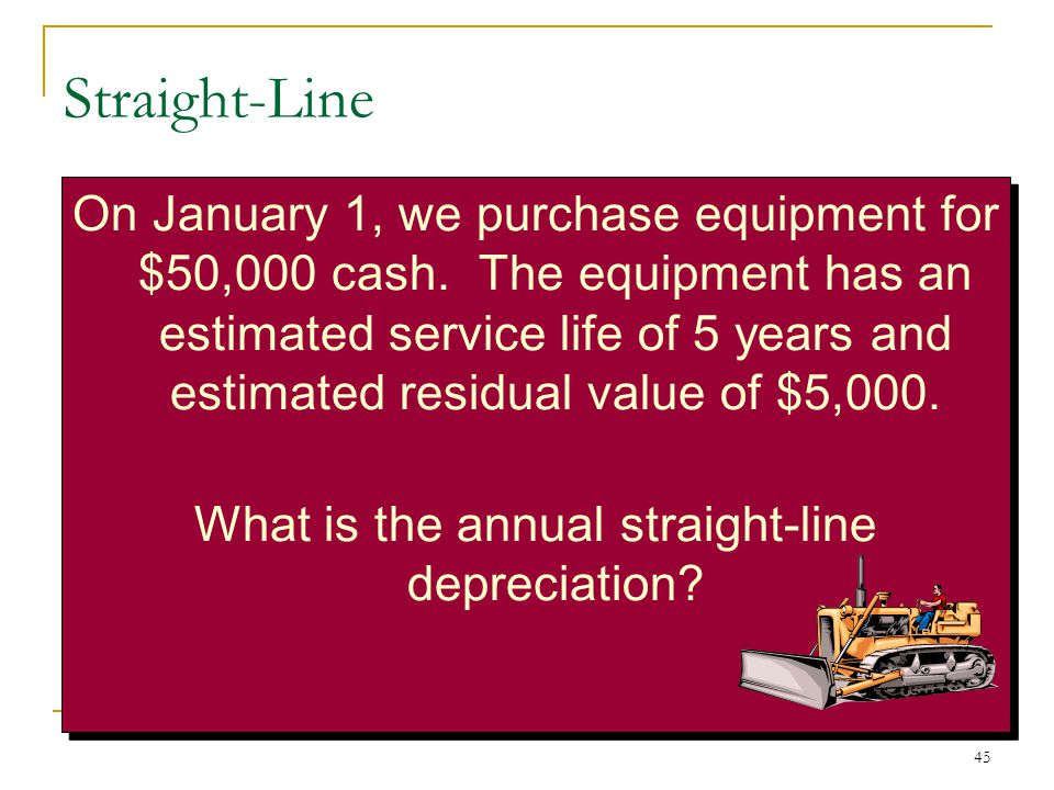 annual depreciation expense In this guide, we break down the components of straight line depreciation and walk you through some examples of how to calculate it for your fixed assets.