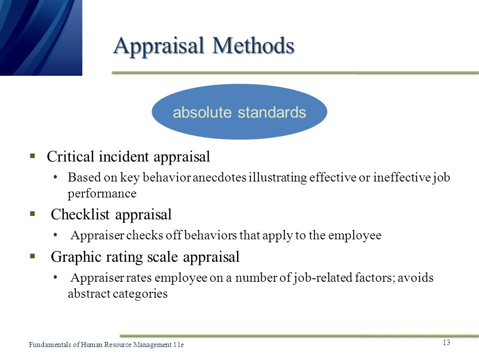 absolute appraisal method essay The absolute standards approach is an appraisal method used to measure the public presentation of employees by showing a elaborate description of the employees' existent behaviour in comparing to a certain set of criterions.