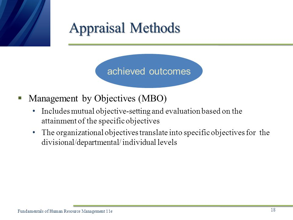 Appraisal Methods achieved outcomes Management by Objectives (MBO)