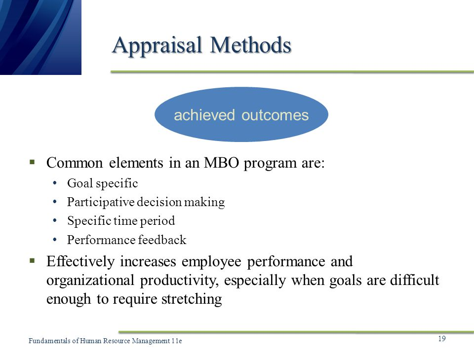 Appraisal Methods achieved outcomes