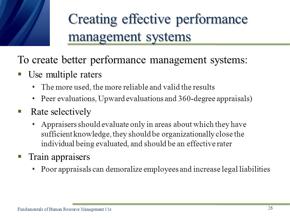 Creating effective performance management systems