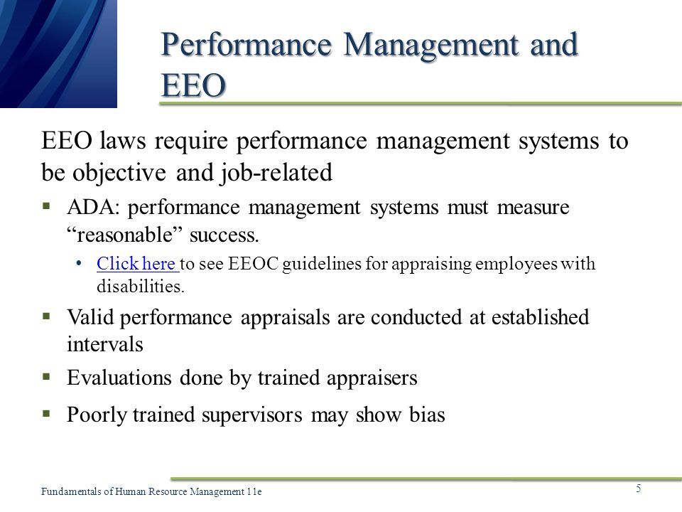 Performance Management and EEO