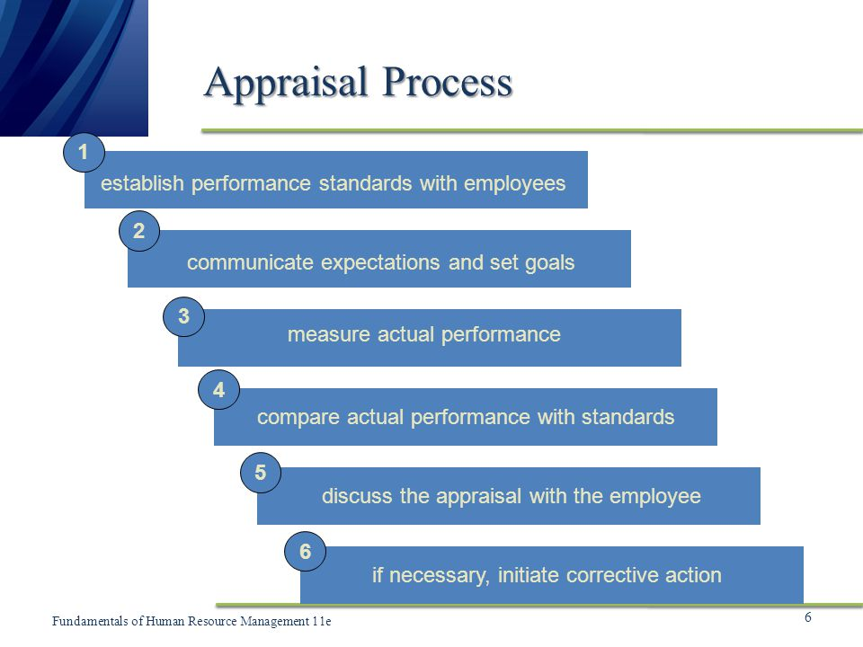 Appraisal Process 1 establish performance standards with employees 2