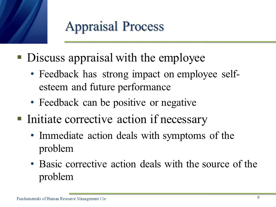 Appraisal Process Discuss appraisal with the employee