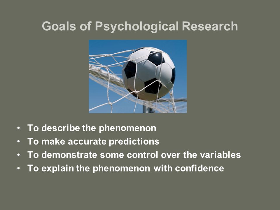 goals of psychological research Psychological research - crash course psychology #2  so how do we apply the scientific method to psychological research lots of ways, but today hank talks about case studies, naturalistic.