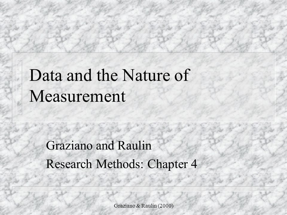 Data and the Nature of Measurement