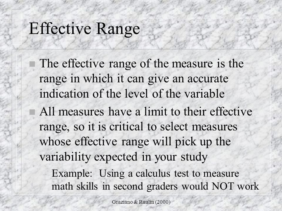 Effective Range The effective range of the measure is the range in which it can give an accurate indication of the level of the variable.