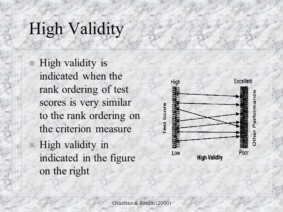 High Validity High validity is indicated when the rank ordering of test scores is very similar to the rank ordering on the criterion measure.
