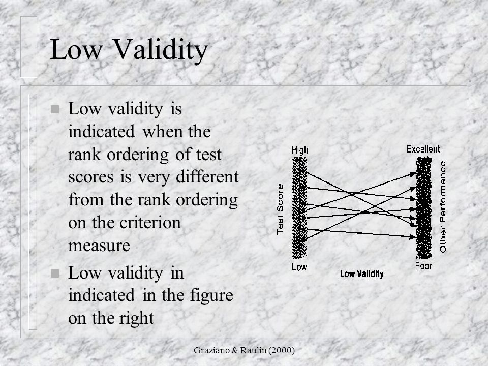Low Validity Low validity is indicated when the rank ordering of test scores is very different from the rank ordering on the criterion measure.
