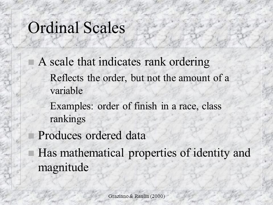 Ordinal Scales A scale that indicates rank ordering