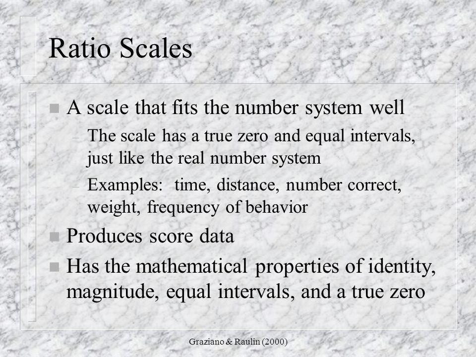 Ratio Scales A scale that fits the number system well