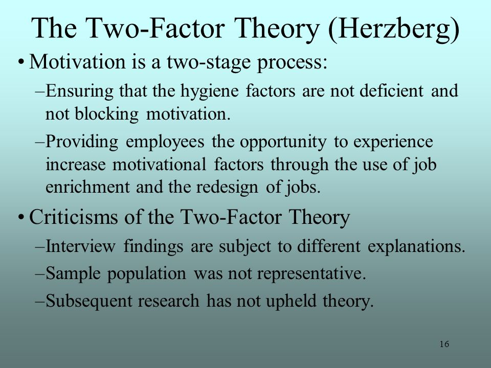 re examination of herzberg's two factor theory of According to herzberg's research, motivators are the conditions that truly encourage employees to try harder figure55 the two-factor theory of motivation includes hygiene factors and motivators herzberg's research is far from being universally accepted.