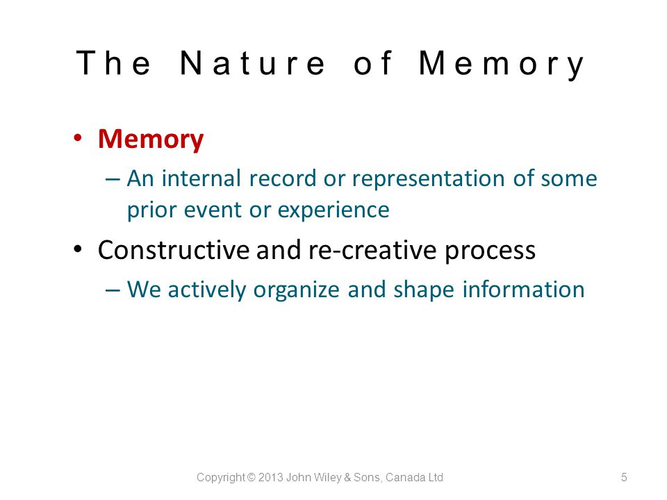 memory is a constructive and active process essay Psychology unit 3 psychology unit 3 chunking bits of information are combined into meaningful units so that more information can be held in short-term memory through the process of _____ happy  memory is defined as an active system that consists of three processes they are _____.
