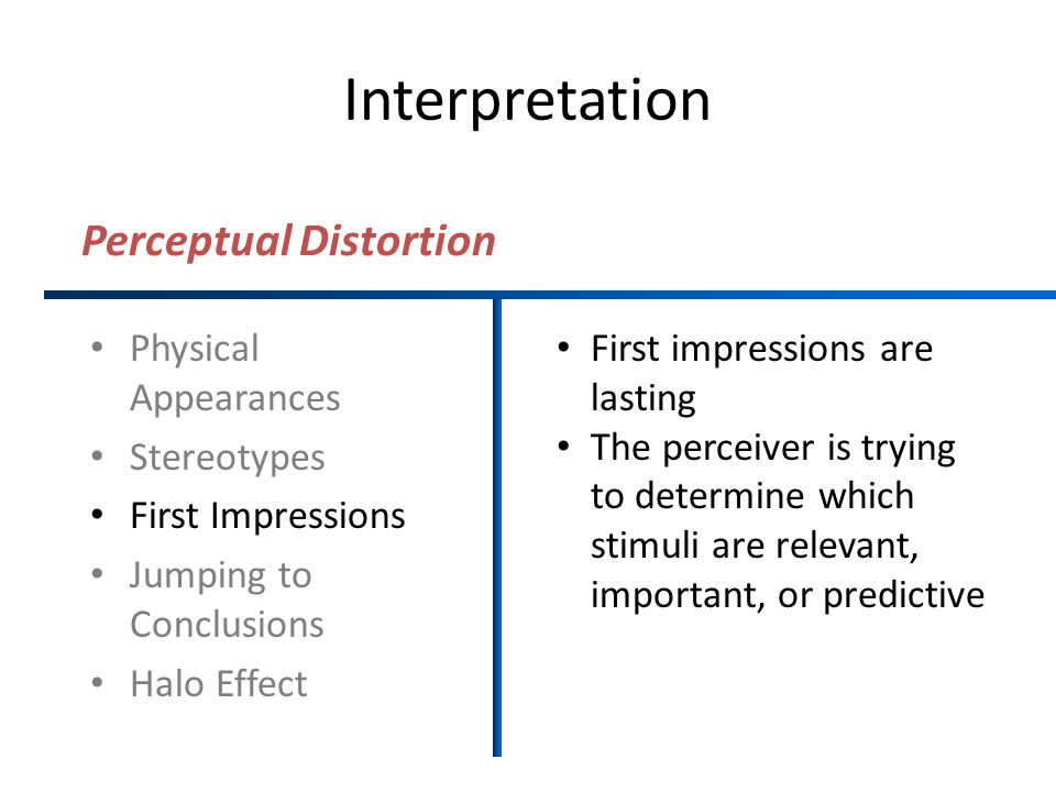 Interpretation Perceptual Distortion Physical Appearances Stereotypes