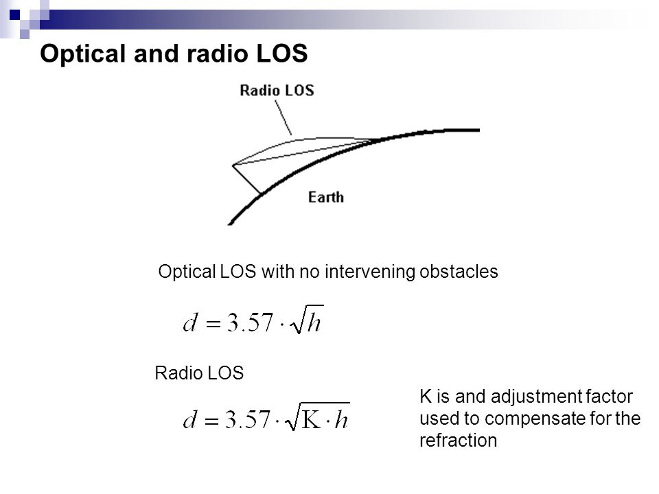 Optical and radio LOS Optical LOS with no intervening obstacles