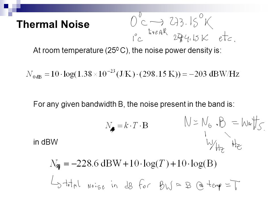 Thermal Noise At room temperature (250 C), the noise power density is: