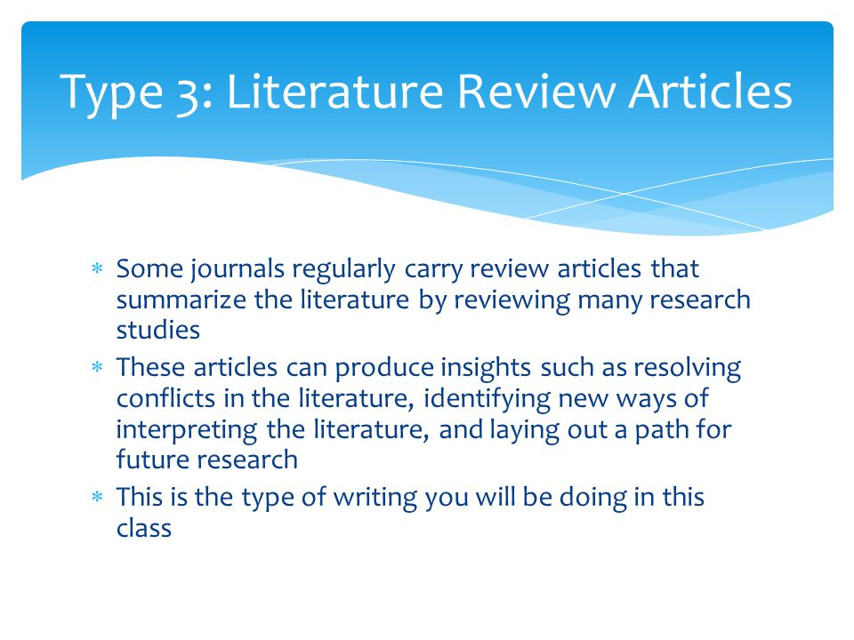 Literature review on articles studying adhd