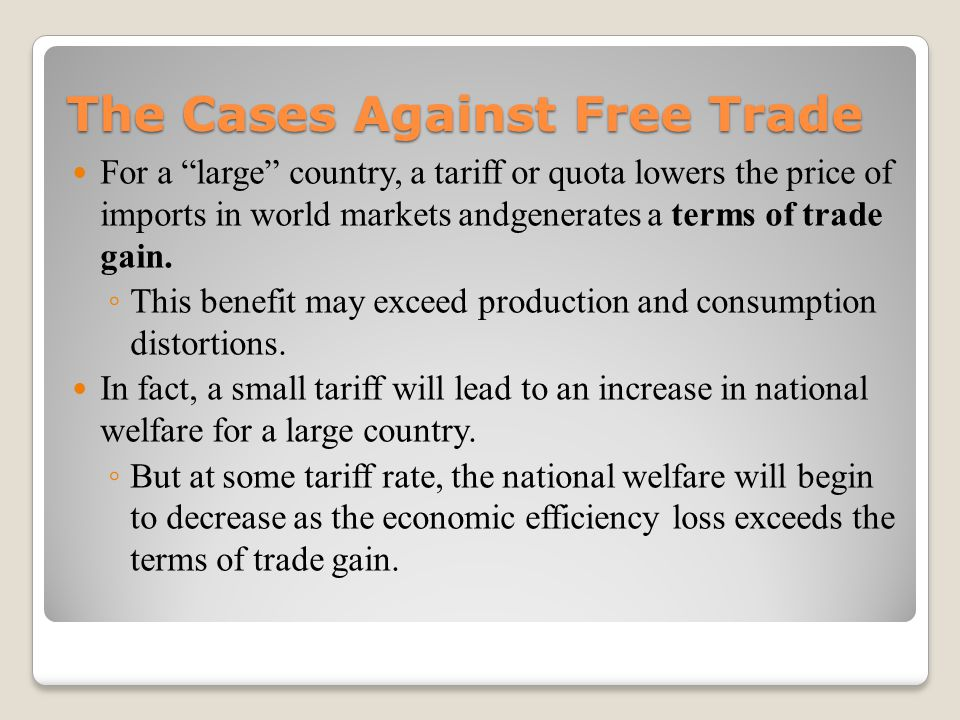 an analysis of the case against free trade One of the main arguments against free trade is that, when trade introduces lower cost international competitors, it puts domestic producers out of business while this argument isn't technically incorrect, it is short-sighted.