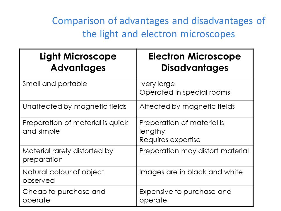 What are differences between the light microscope and the electron microscope?