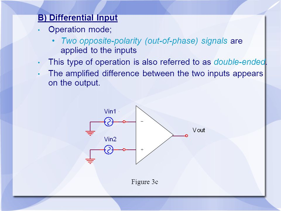 Two opposite-polarity (out-of-phase) signals are applied to the inputs
