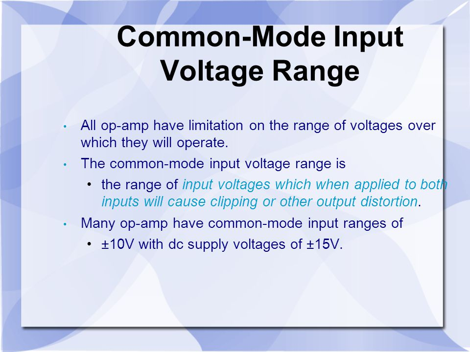 Common-Mode Input Voltage Range