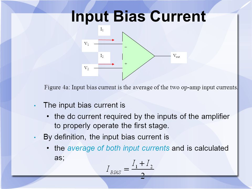 Input Bias Current The input bias current is