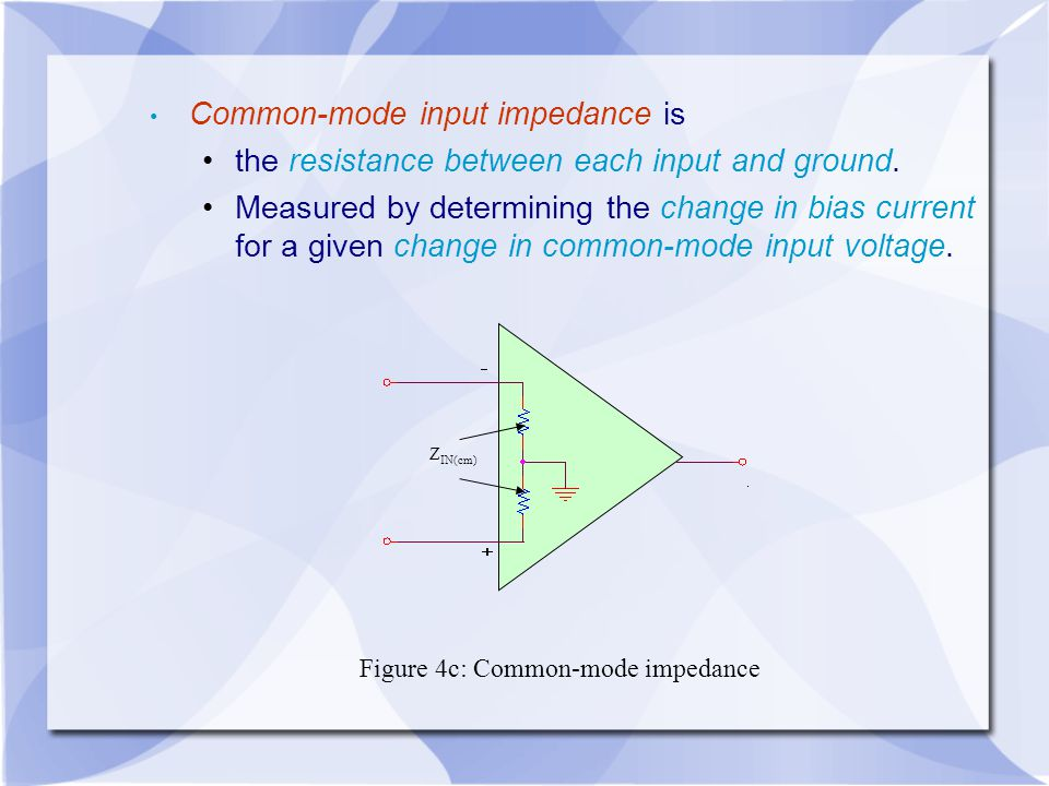 Common-mode input impedance is