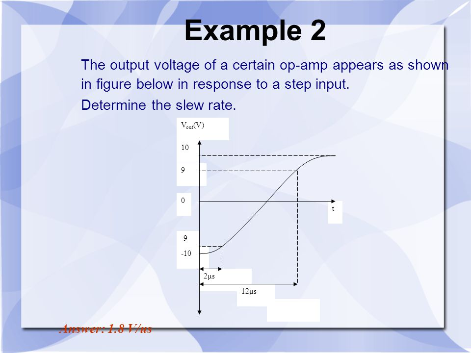 Example 2 The output voltage of a certain op-amp appears as shown in figure below in response to a step input.