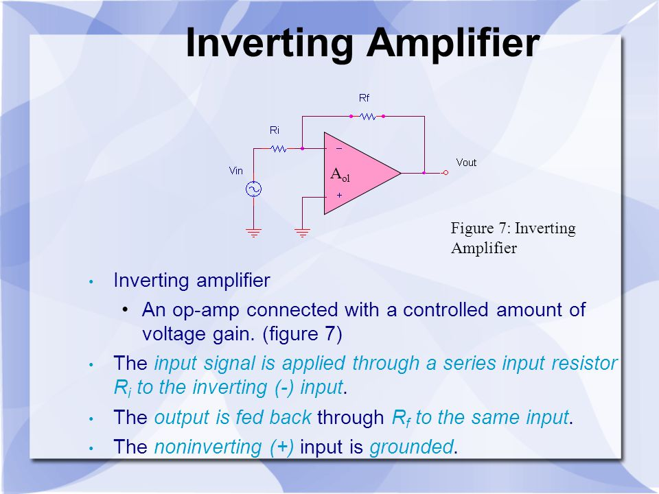 Inverting Amplifier Inverting amplifier