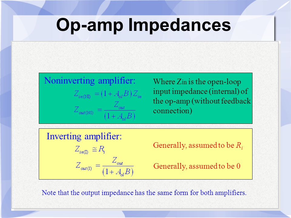Op-amp Impedances Noninverting amplifier: Inverting amplifier: