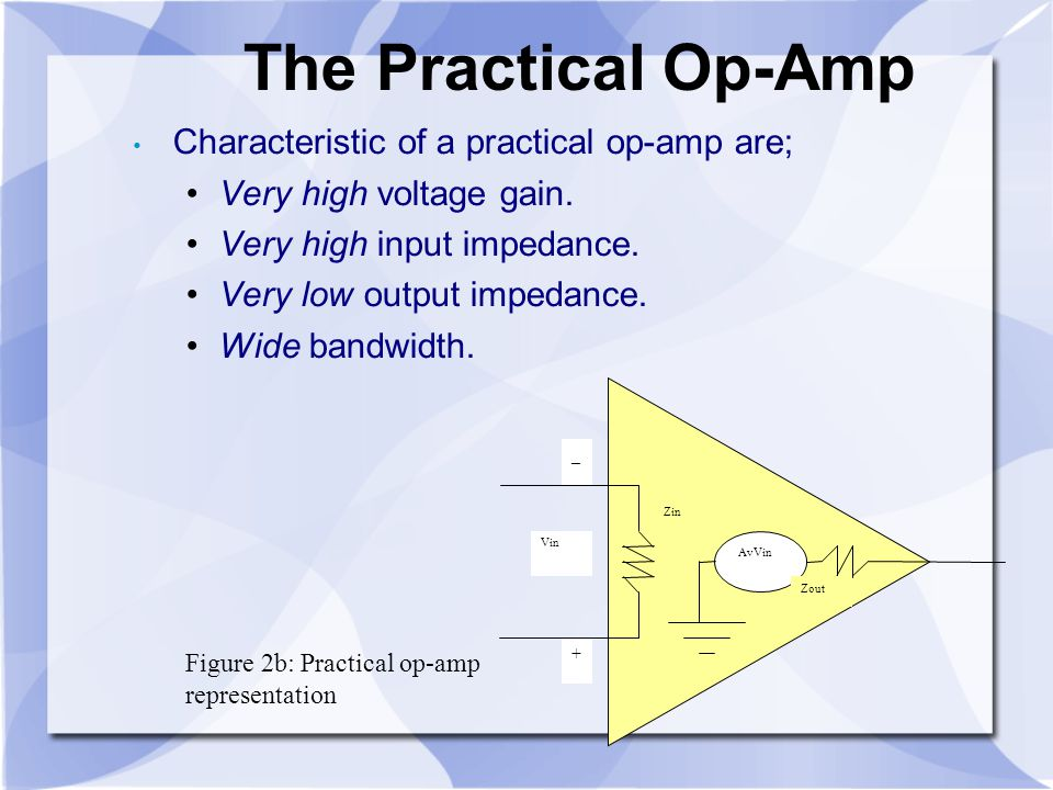 The Practical Op-Amp Characteristic of a practical op-amp are;