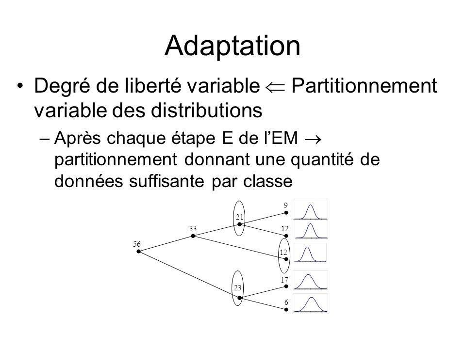 Adaptation Degré de liberté variable  Partitionnement variable des distributions.
