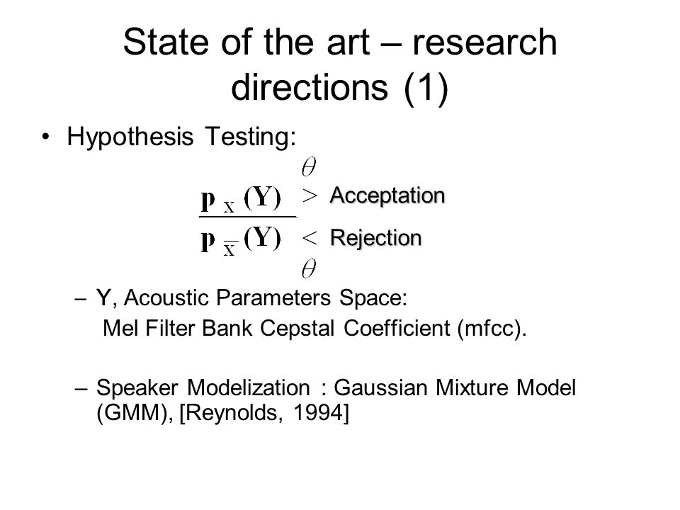 State of the art – research directions (1)