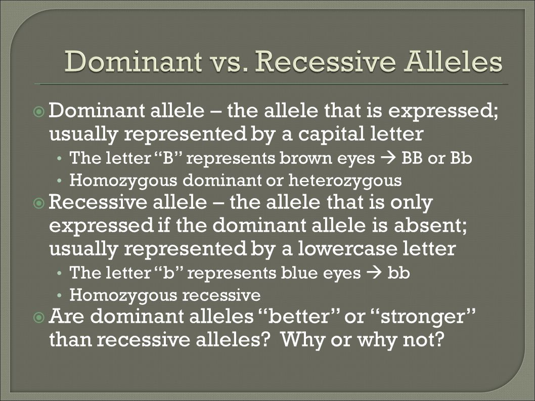 Dominant allele – the allele that is expressed; usually represented by a capital letter