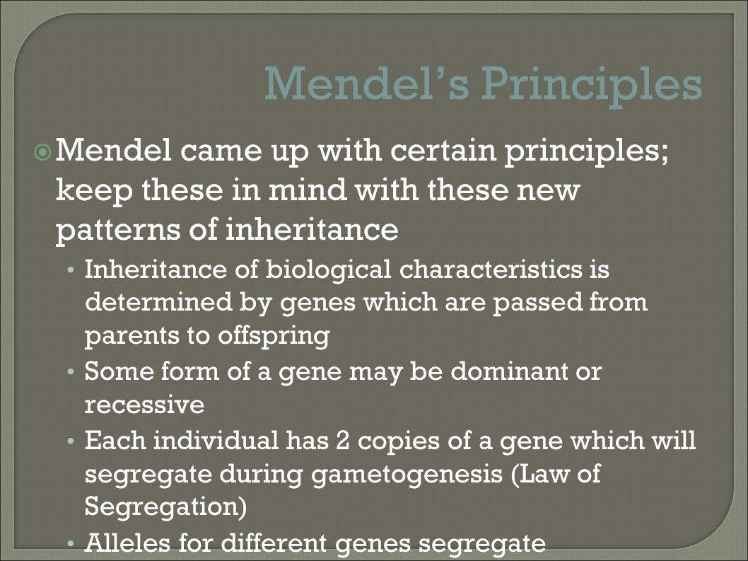 Mendel's Principles Mendel came up with certain principles; keep these in mind with these new patterns of inheritance.