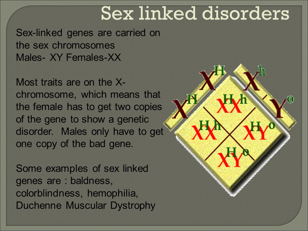 Sex linked disorders Sex-linked genes are carried on the sex chromosomes. Males- XY Females-XX.