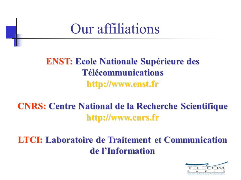 Our affiliations ENST: Ecole Nationale Supérieure des Télécommunications http://www.enst.fr.