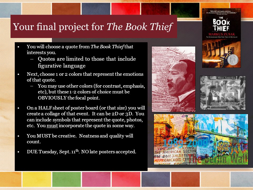 Book Cover Collage Quote : Color theory in the book thief ppt download