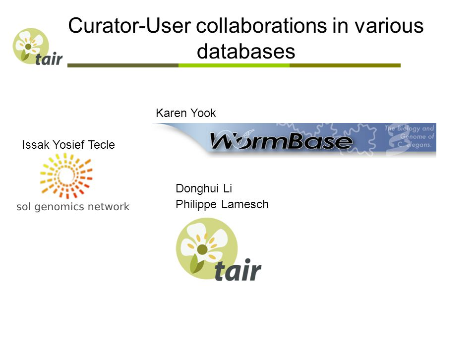Curator-User collaborations in various databases