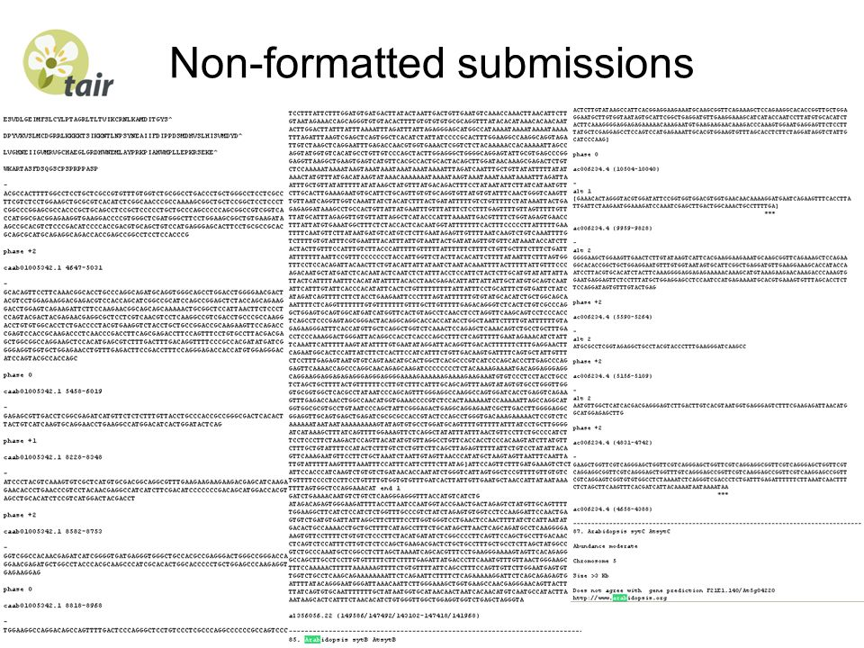Non-formatted submissions