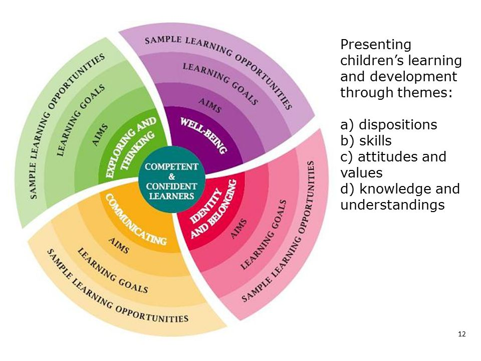 Presenting children's learning and development through themes: a) dispositions b) skills c) attitudes and values d) knowledge and understandings