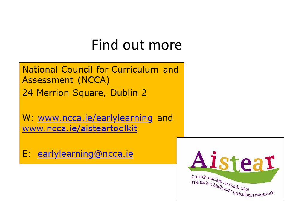Find out more National Council for Curriculum and Assessment (NCCA)
