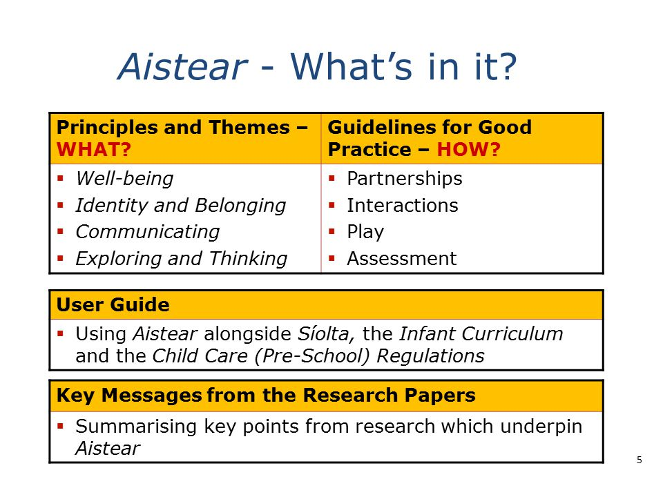 Aistear - What's in it Principles and Themes – WHAT
