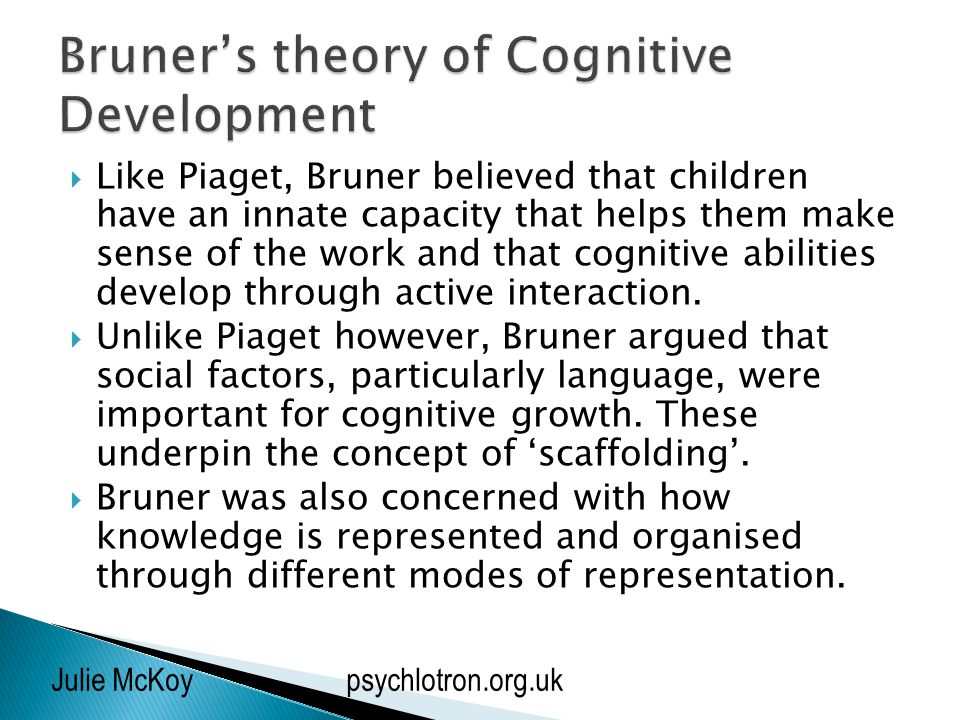 compare and contrast piagets and bruners theories of cognitive development Key words: jp piaget, js bruner, cognitive-developmental theory, children's  dance  by piaget and bruner four cognitive development stages are  described in piaget's theory, from  •able to compare more than three dancing  styles.