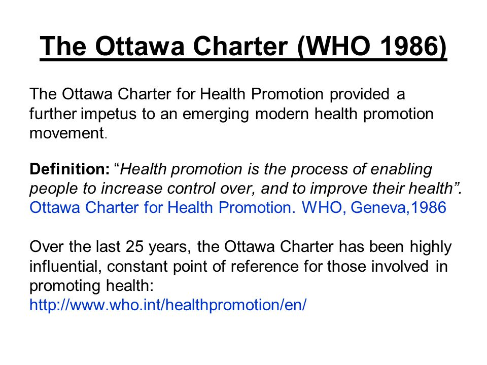 ottawa charter Critical question 4: what actions are needed to address australia's health priorities health promotion based on the five action areas of the ottawa charter the five action areas of the.